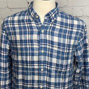 J.Crew Linen long sleeve button down plaid shirt